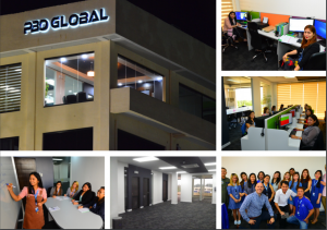 images of PBO Global's office and its outsource staff at work