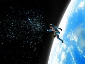 an astronaut floating in the outer space with the planet Earth on its background