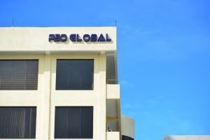 outsourcing building with blue sky background